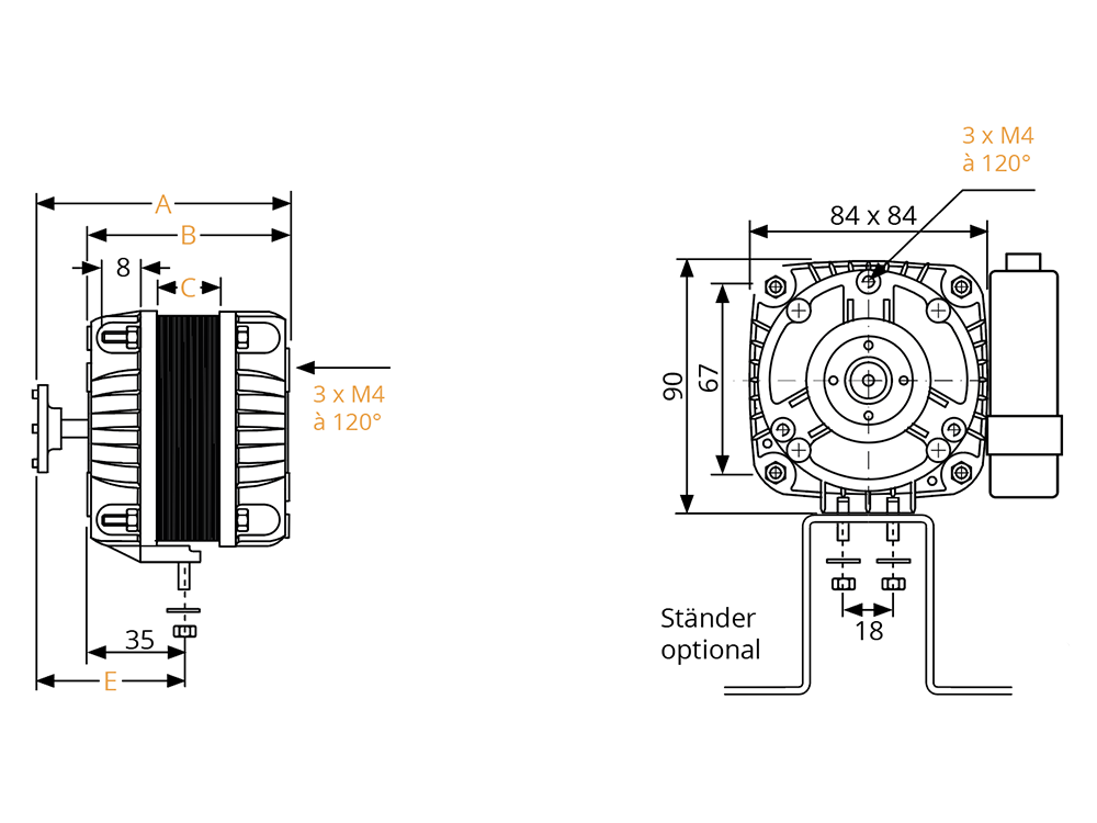 spaltpol-motoren  2 - und 4   linkslauf